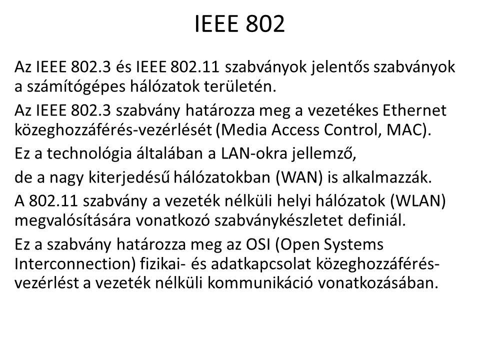IEEE 802 Az IEEE 802.3 és IEEE 802.11 szabványok jelentős szabványok a számítógépes hálózatok területén. Az IEEE 802.3 szabvány határozza meg a vezeté
