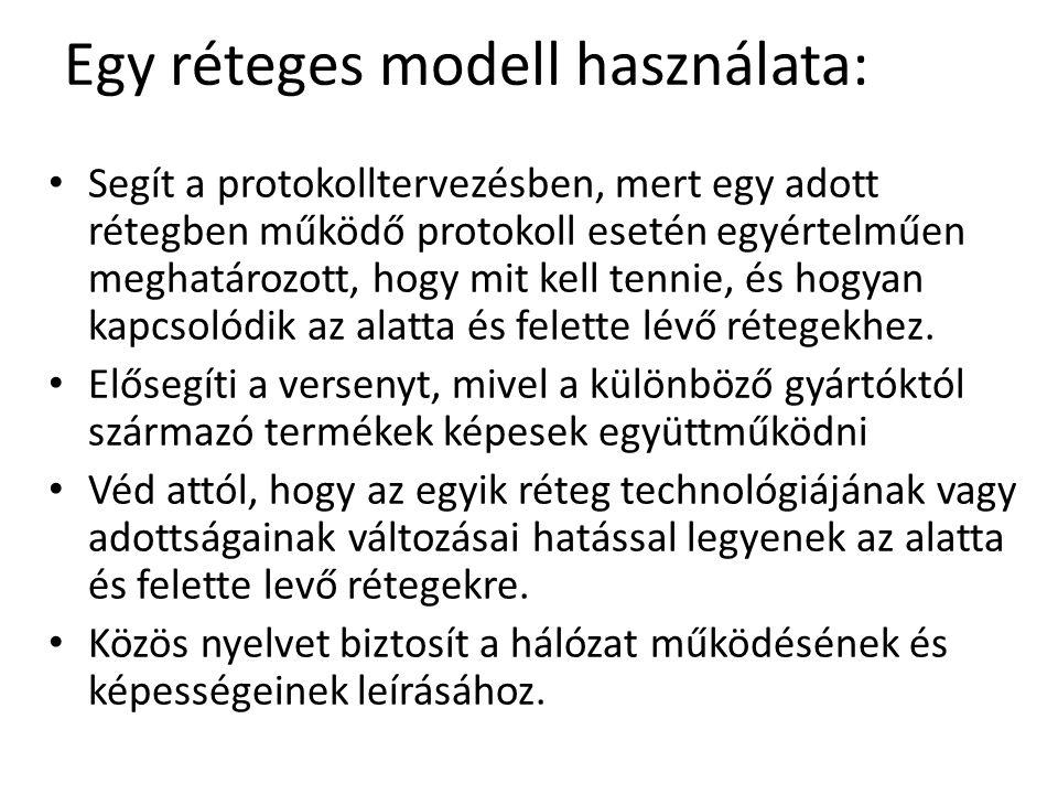 Egy réteges modell használata: Segít a protokolltervezésben, mert egy adott rétegben működő protokoll esetén egyértelműen meghatározott, hogy mit kell