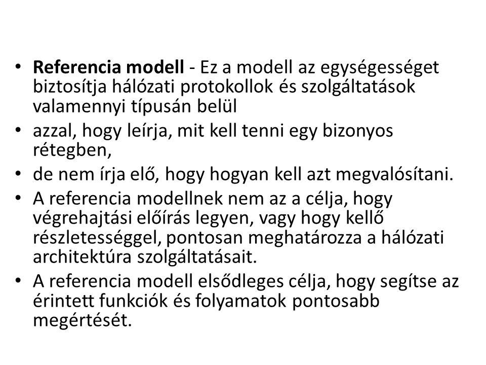 Referencia modell - Ez a modell az egységességet biztosítja hálózati protokollok és szolgáltatások valamennyi típusán belül azzal, hogy leírja, mit ke
