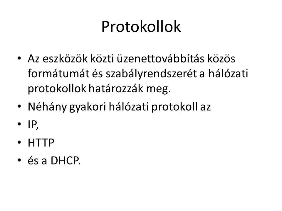 Protokollok Az eszközök közti üzenettovábbítás közös formátumát és szabályrendszerét a hálózati protokollok határozzák meg. Néhány gyakori hálózati pr