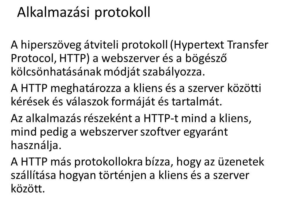 Alkalmazási protokoll A hiperszöveg átviteli protokoll (Hypertext Transfer Protocol, HTTP) a webszerver és a bögésző kölcsönhatásának módját szabályoz