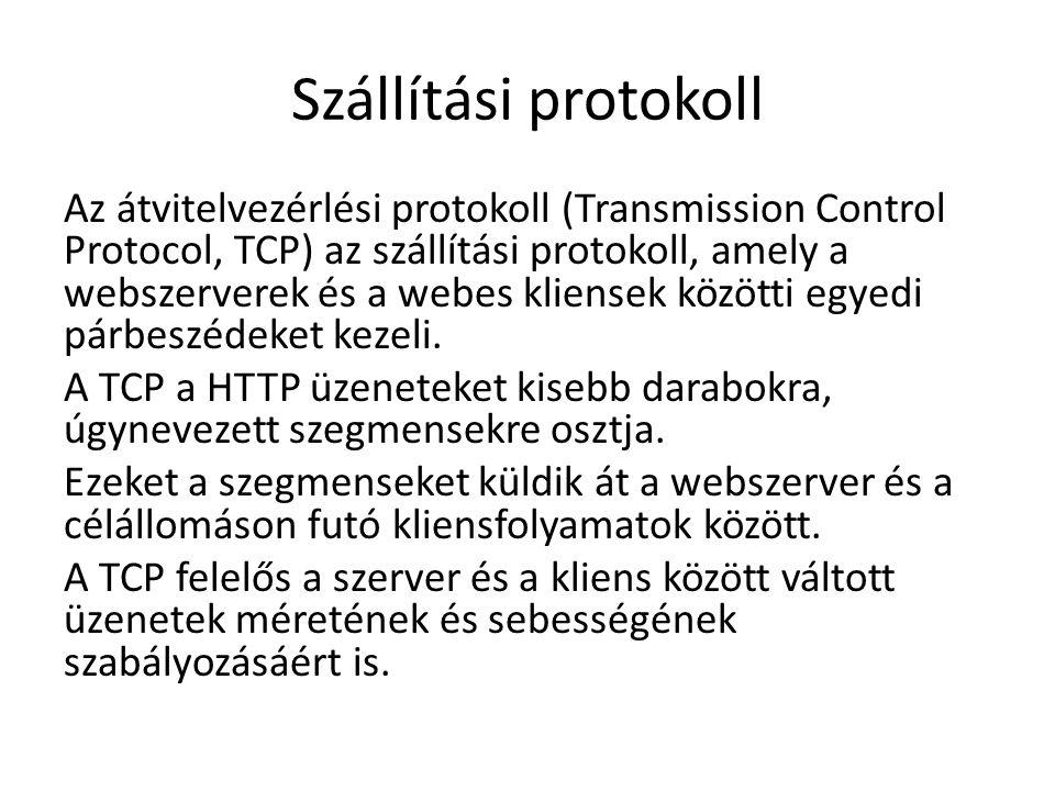 Internet Protokoll Az IP felelős a kialakított szegmensek TCP-től való átvételéért, azok csomagokba ágyazásáért, megfelelő címekkel történő ellátásukért, valamint a legjobb útvonalon a célállomáshoz továbbításukért.