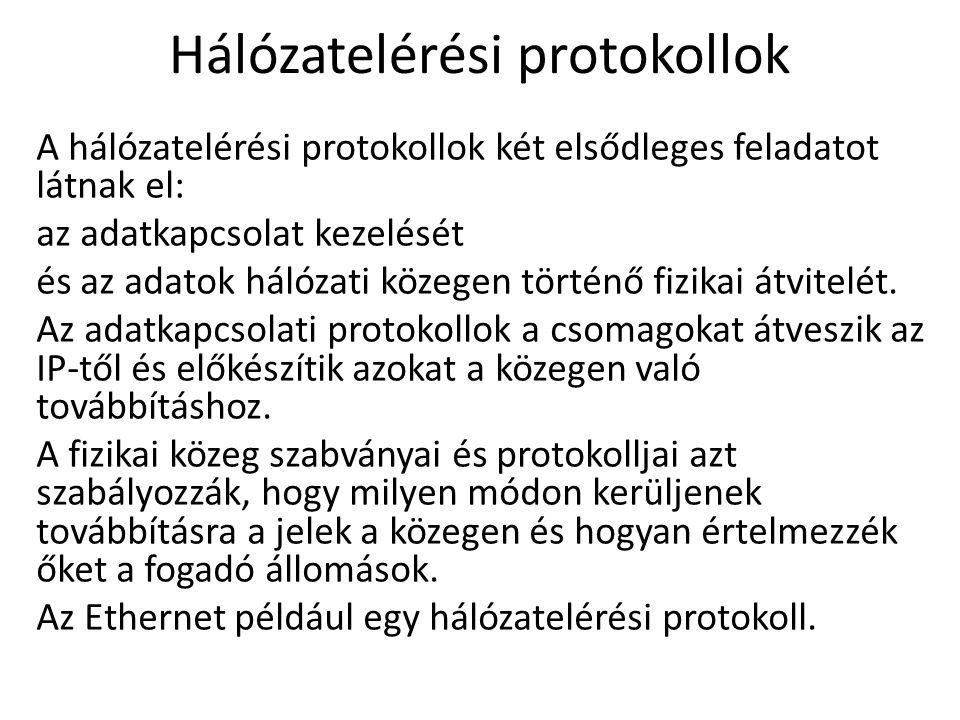 Hálózatelérési protokollok A hálózatelérési protokollok két elsődleges feladatot látnak el: az adatkapcsolat kezelését és az adatok hálózati közegen t