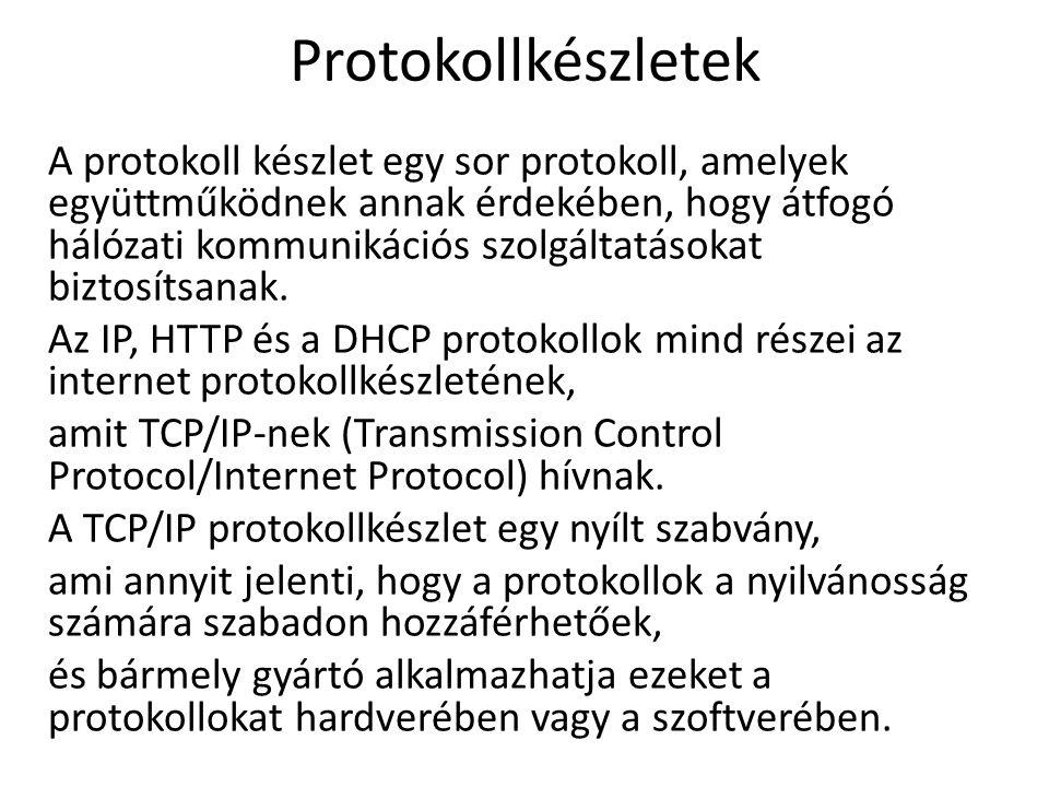Protokollkészletek A protokoll készlet egy sor protokoll, amelyek együttműködnek annak érdekében, hogy átfogó hálózati kommunikációs szolgáltatásokat