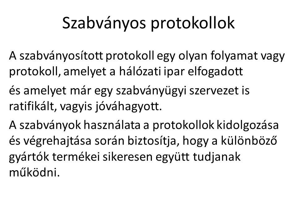 Szabványos protokollok A szabványosított protokoll egy olyan folyamat vagy protokoll, amelyet a hálózati ipar elfogadott és amelyet már egy szabványüg