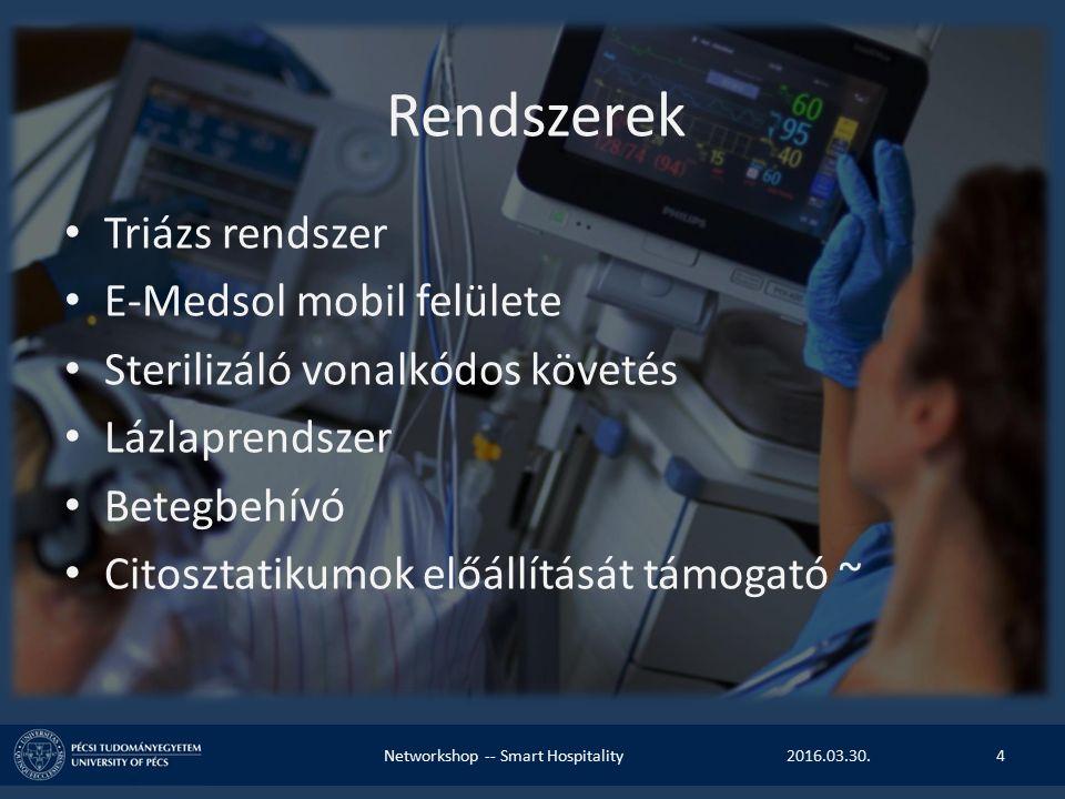 Rendszerek Triázs rendszer E-Medsol mobil felülete Sterilizáló vonalkódos követés Lázlaprendszer Betegbehívó Citosztatikumok előállítását támogató ~ 2016.03.30.Networkshop -- Smart Hospitality4