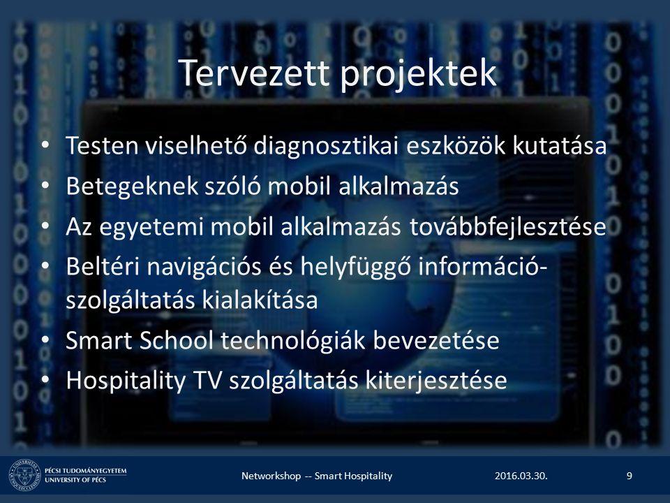 Tervezett projektek Testen viselhető diagnosztikai eszközök kutatása Betegeknek szóló mobil alkalmazás Az egyetemi mobil alkalmazás továbbfejlesztése Beltéri navigációs és helyfüggő információ- szolgáltatás kialakítása Smart School technológiák bevezetése Hospitality TV szolgáltatás kiterjesztése 2016.03.30.Networkshop -- Smart Hospitality9