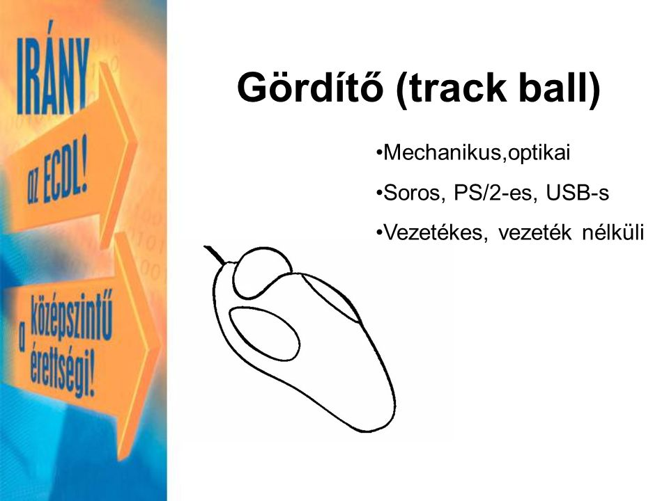 Gördítő (track ball) Mechanikus,optikai Soros, PS/2-es, USB-s Vezetékes, vezeték nélküli