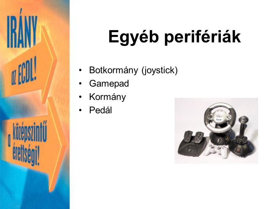 Botkormány (joystick) Gamepad Kormány Pedál Egyéb perifériák