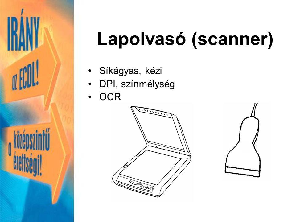 Lapolvasó (scanner) Síkágyas, kézi DPI, színmélység OCR