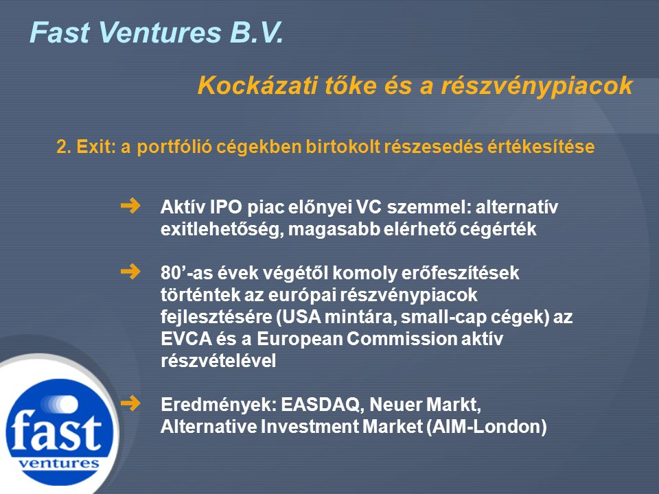 Fast Ventures B.V. Kockázati tőke és a részvénypiacok Aktív IPO piac előnyei VC szemmel: alternatív exitlehetőség, magasabb elérhető cégérték 80'-as é