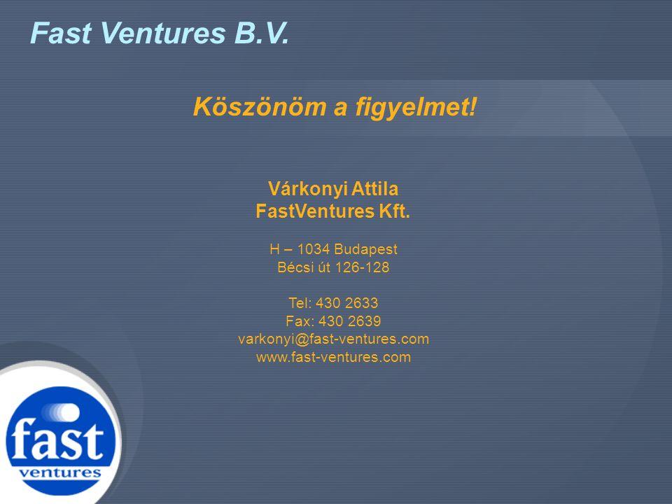 Fast Ventures B.V. Köszönöm a figyelmet! Várkonyi Attila FastVentures Kft. H – 1034 Budapest Bécsi út 126-128 Tel: 430 2633 Fax: 430 2639 varkonyi@fas
