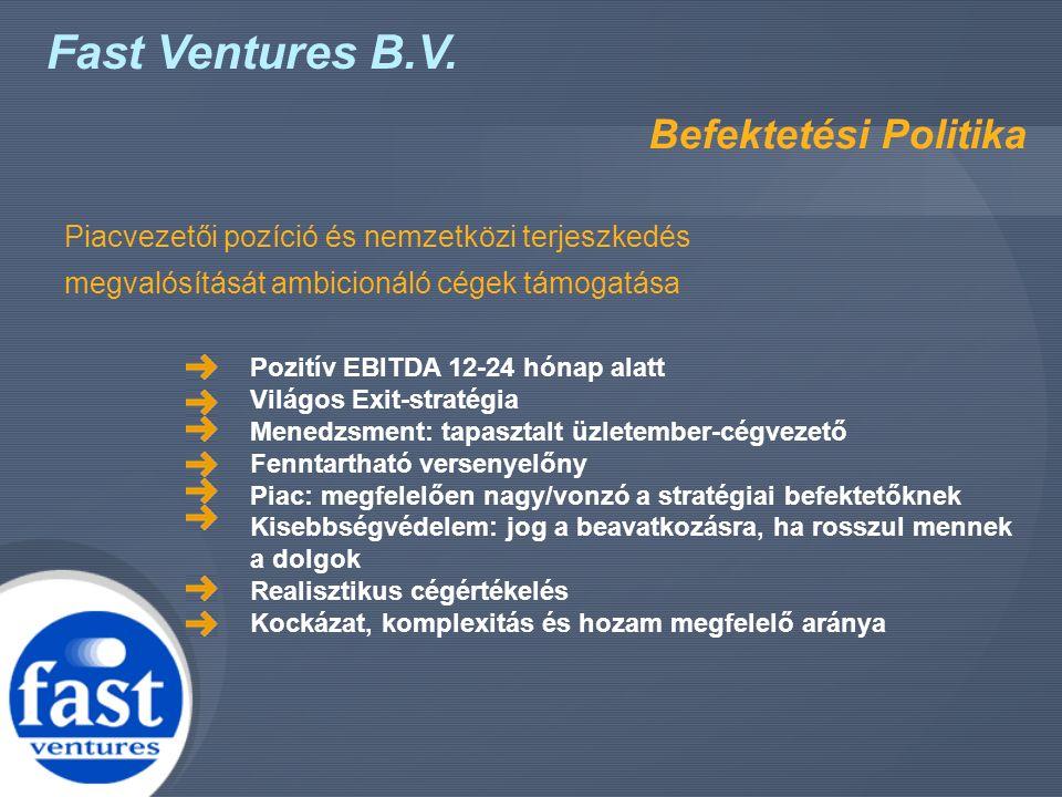 Fast Ventures B.V. Befektetési Politika Piacvezetői pozíció és nemzetközi terjeszkedés megvalósítását ambicionáló cégek támogatása Pozitív EBITDA 12-2