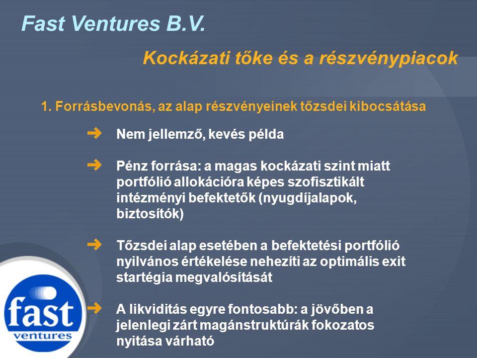 Fast Ventures B.V. Kockázati tőke és a részvénypiacok Nem jellemző, kevés példa Pénz forrása: a magas kockázati szint miatt portfólió allokációra képe