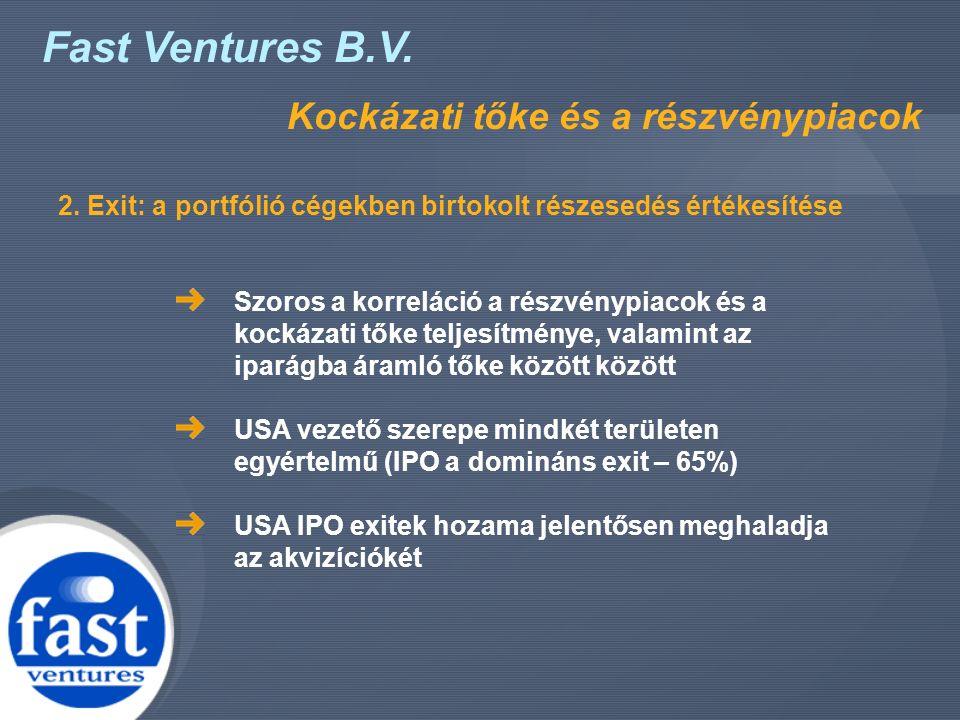 Fast Ventures B.V. Kockázati tőke és a részvénypiacok Szoros a korreláció a részvénypiacok és a kockázati tőke teljesítménye, valamint az iparágba ára