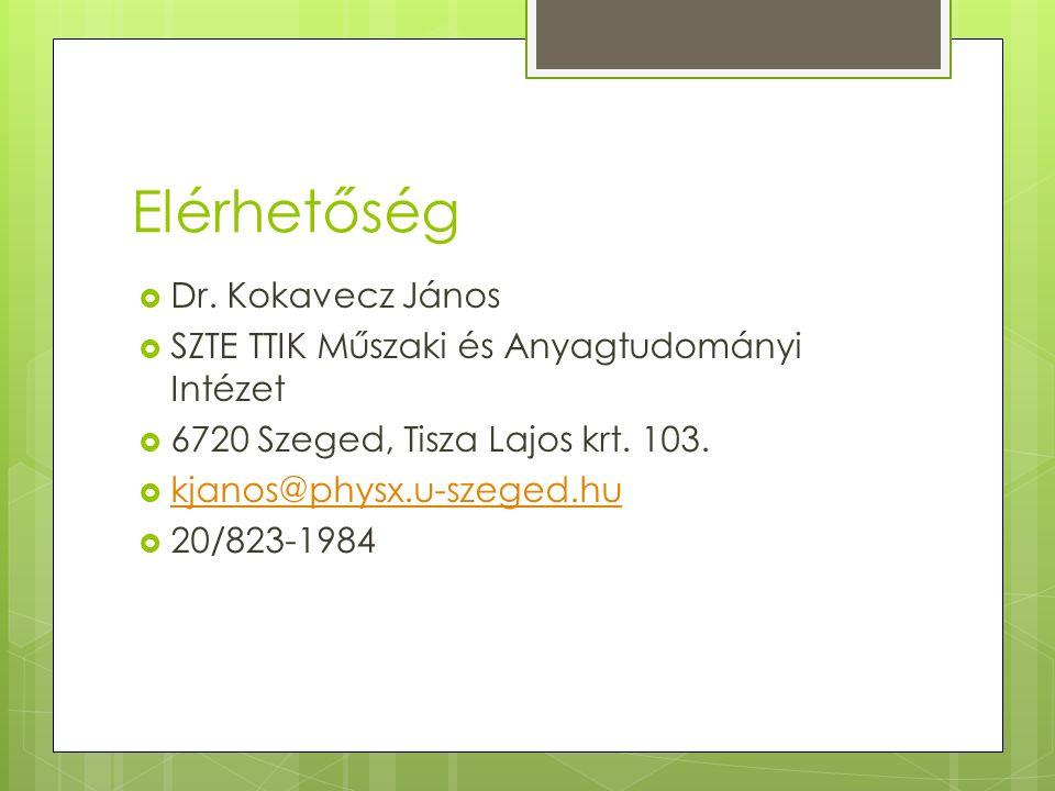 Elérhetőség  Dr. Kokavecz János  SZTE TTIK Műszaki és Anyagtudományi Intézet  6720 Szeged, Tisza Lajos krt. 103.  kjanos@physx.u-szeged.hu kjanos@