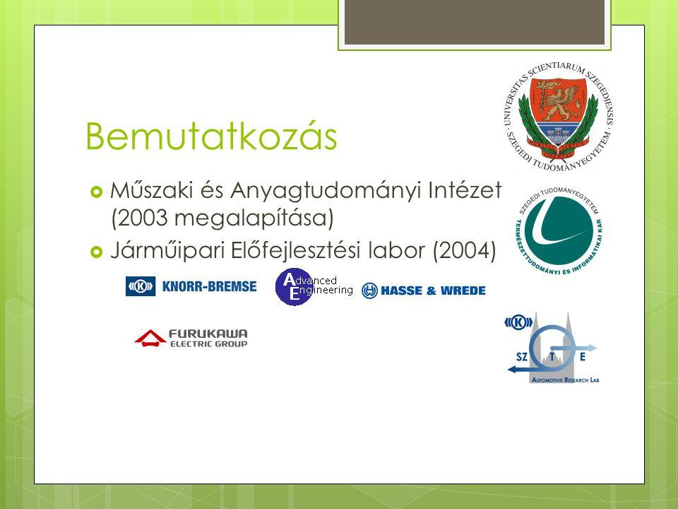 Bemutatkozás  Műszaki és Anyagtudományi Intézet (2003 megalapítása)  Járműipari Előfejlesztési labor (2004)