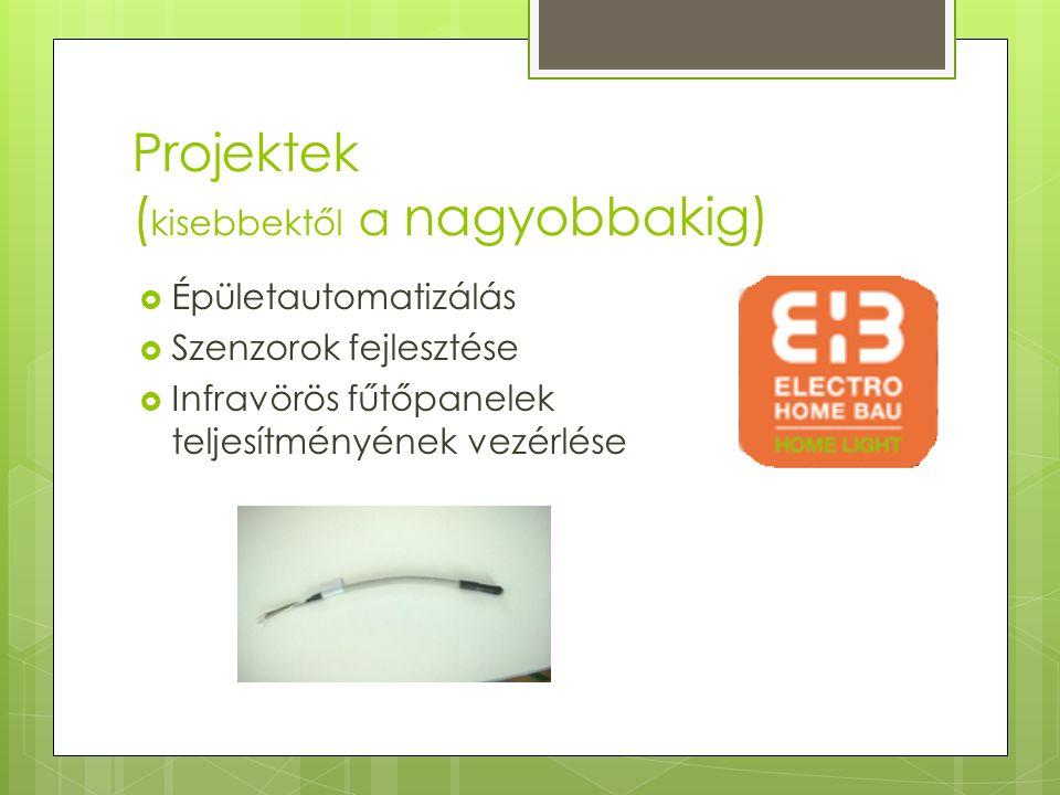 Projektek ( kisebbektől a nagyobbakig)  Épületautomatizálás  Szenzorok fejlesztése  Infravörös fűtőpanelek teljesítményének vezérlése