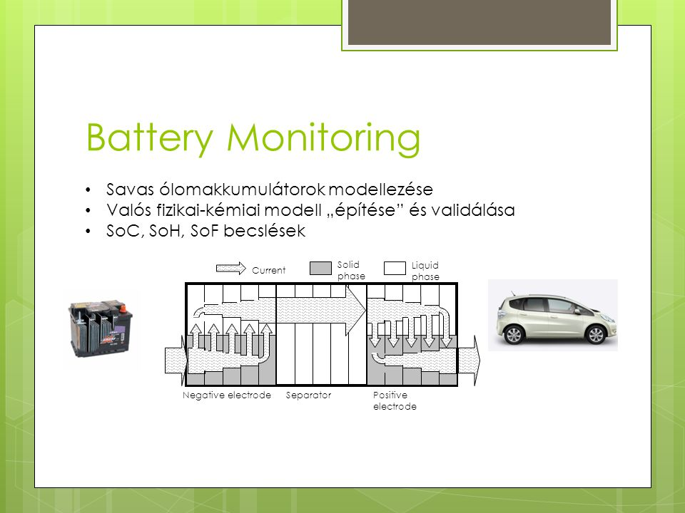 """Battery Monitoring Savas ólomakkumulátorok modellezése Valós fizikai-kémiai modell """"építése és validálása SoC, SoH, SoF becslések Negative electrodeSeparator Positive electrode Solid phase Liquid phase Current"""