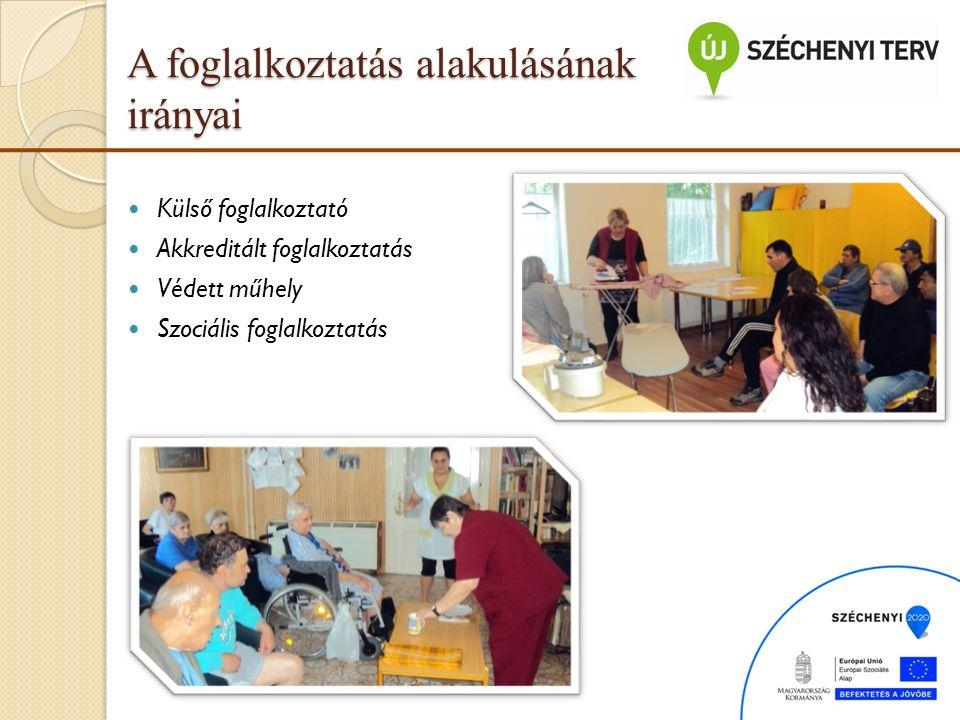 Külső foglalkoztató Akkreditált foglalkoztatás Védett műhely Szociális foglalkoztatás A foglalkoztatás alakulásának irányai