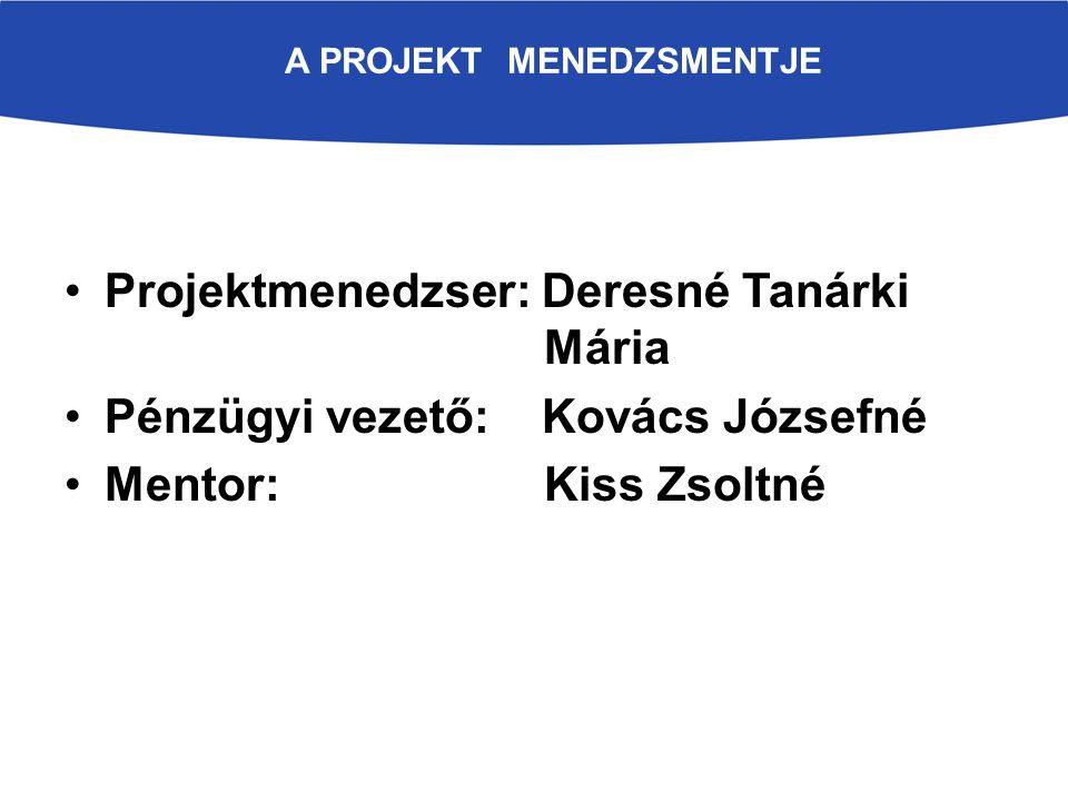 A PROJEKT MENEDZSMENTJE Projektmenedzser: Deresné Tanárki Mária Pénzügyi vezető: Kovács Józsefné Mentor: Kiss Zsoltné