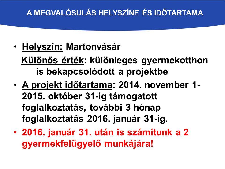 A MEGVALÓSULÁS HELYSZÍNE ÉS IDŐTARTAMA Helyszín: Martonvásár Különös érték: különleges gyermekotthon is bekapcsolódott a projektbe A projekt időtartama: 2014.