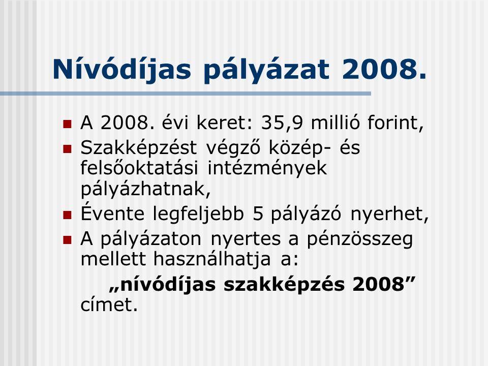 Nívódíjas pályázat 2008. A 2008.