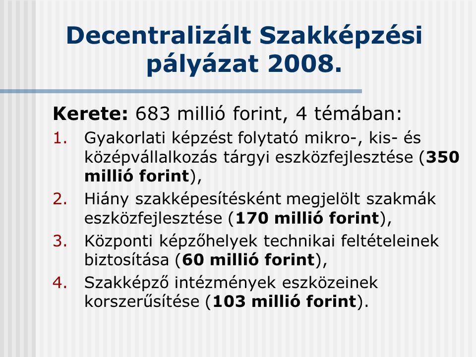 Decentralizált Szakképzési pályázat 2008.