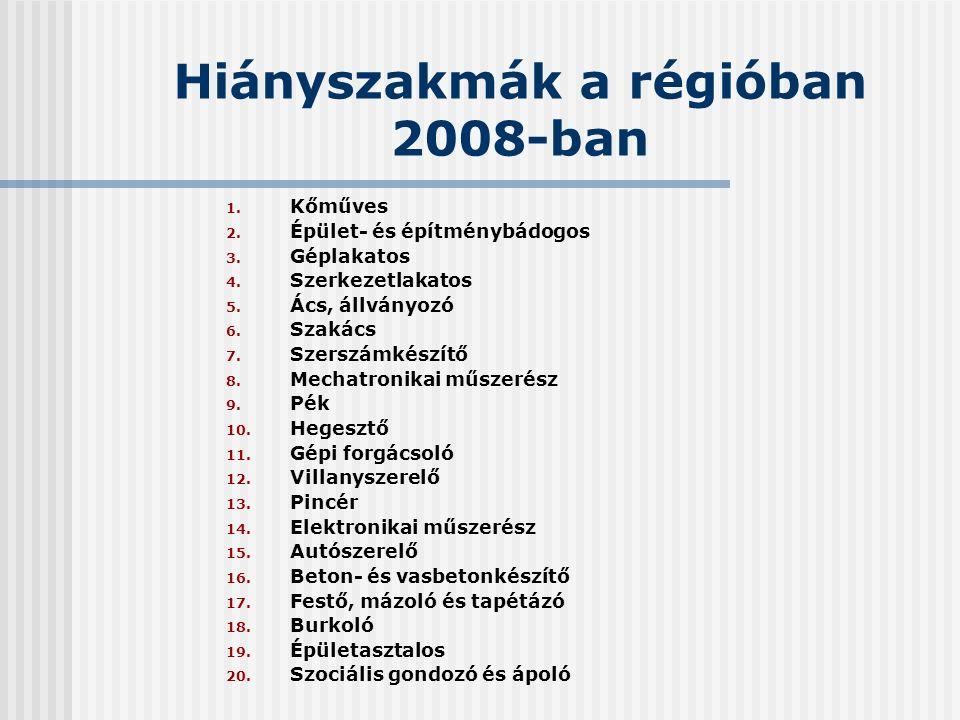Hiányszakmák a régióban 2008-ban 1. Kőműves 2. Épület- és építménybádogos 3.