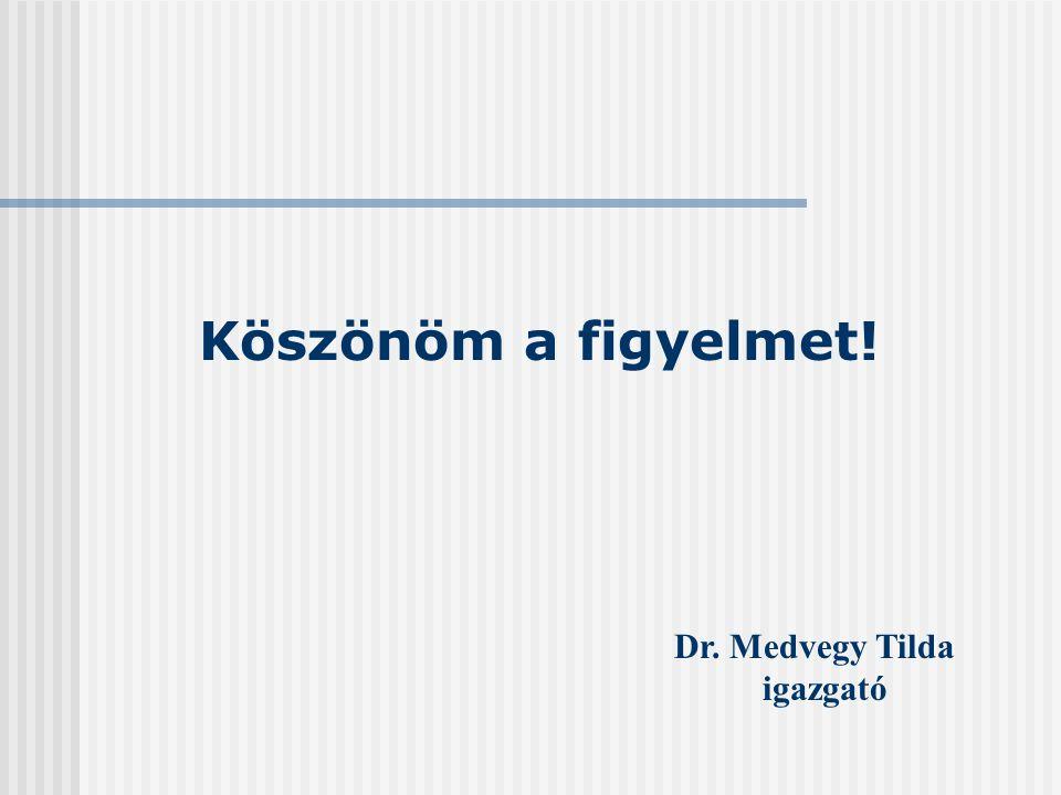 Köszönöm a figyelmet! Dr. Medvegy Tilda igazgató
