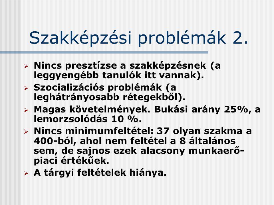 Szakképzési problémák 2.  Nincs presztízse a szakképzésnek (a leggyengébb tanulók itt vannak).