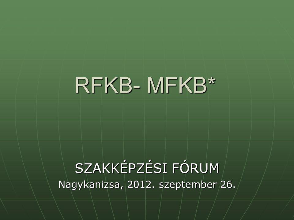 RFKB- MFKB* SZAKKÉPZÉSI FÓRUM Nagykanizsa, 2012. szeptember 26.