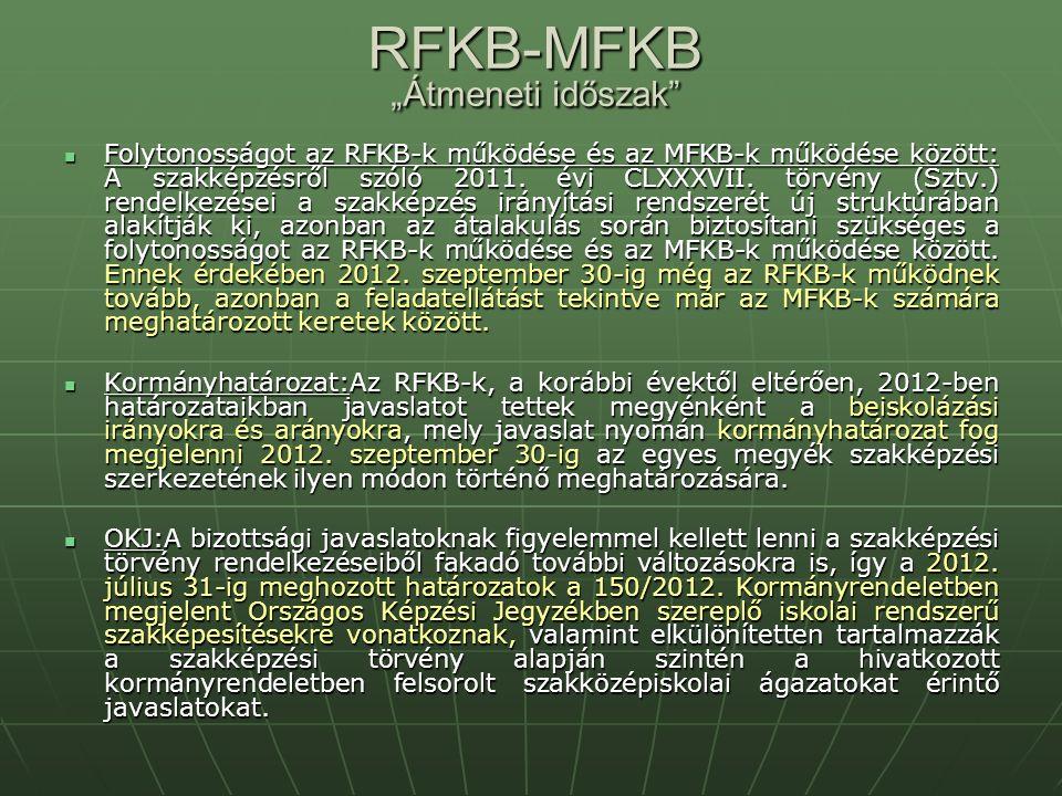 """RFKB-MFKB """"Átmeneti időszak Folytonosságot az RFKB-k működése és az MFKB-k működése között: A szakképzésről szóló 2011."""
