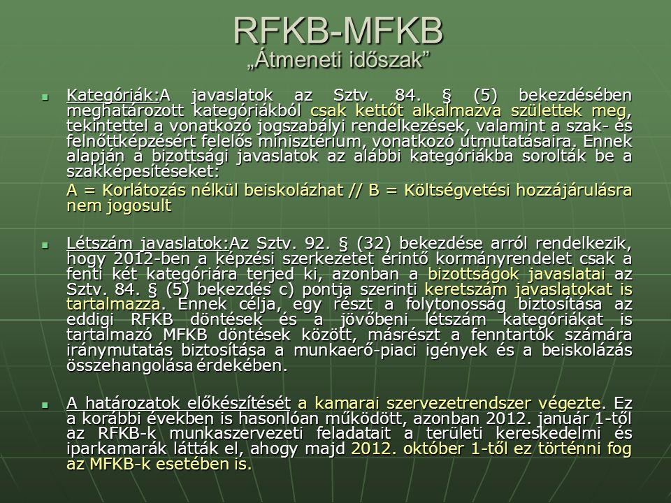 """RFKB-MFKB """"Átmeneti időszak Kategóriák:A javaslatok az Sztv."""