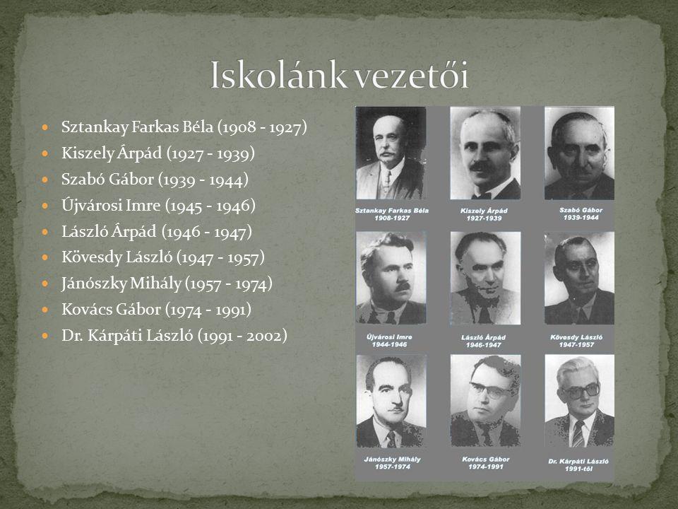 Sztankay Farkas Béla (1908 - 1927) Kiszely Árpád (1927 - 1939) Szabó Gábor (1939 - 1944) Újvárosi Imre (1945 - 1946) László Árpád (1946 - 1947) Kövesdy László (1947 - 1957) Jánószky Mihály (1957 - 1974) Kovács Gábor (1974 - 1991) Dr.