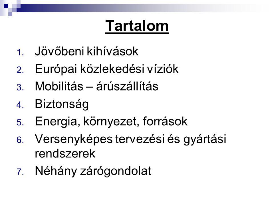 Tartalom 1. Jövőbeni kihívások 2. Európai közlekedési víziók 3. Mobilitás – árúszállítás 4. Biztonság 5. Energia, környezet, források 6. Versenyképes