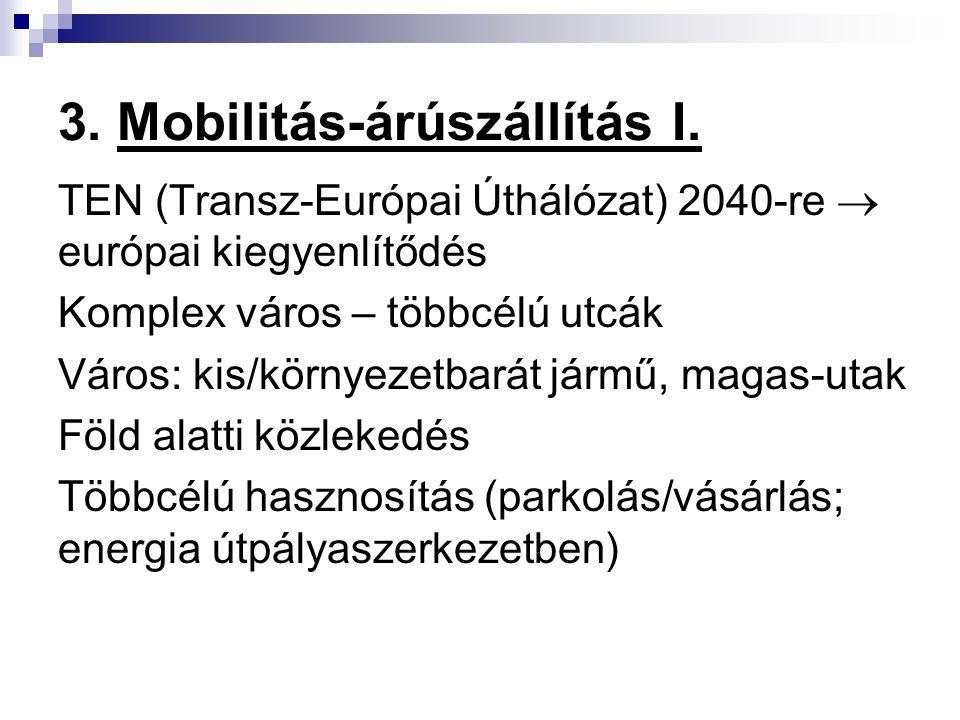 3. Mobilitás-árúszállítás I. TEN (Transz-Európai Úthálózat) 2040-re  európai kiegyenlítődés Komplex város – többcélú utcák Város: kis/környezetbarát