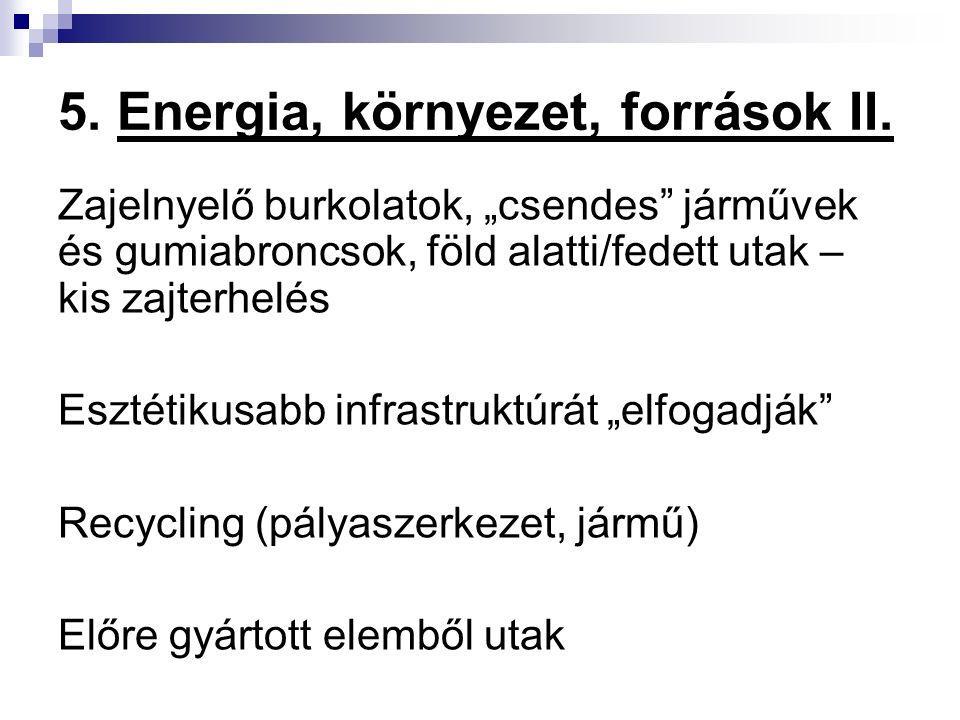 """5. Energia, környezet, források II. Zajelnyelő burkolatok, """"csendes"""" járművek és gumiabroncsok, föld alatti/fedett utak – kis zajterhelés Esztétikusab"""