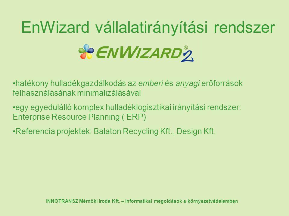 EnWizard vállalatirányítási rendszer hatékony hulladékgazdálkodás az emberi és anyagi erőforrások felhasználásának minimalizálásával egy egyedülálló komplex hulladéklogisztikai irányítási rendszer: Enterprise Resource Planning ( ERP) Referencia projektek: Balaton Recycling Kft., Design Kft.