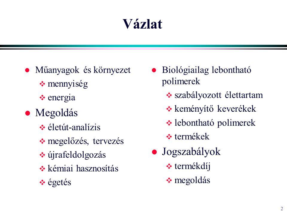 2 Vázlat l Műanyagok és környezet  mennyiség  energia l Megoldás  életút-analízis  megelőzés, tervezés  újrafeldolgozás  kémiai hasznosítás  égetés l Biológiailag lebontható polimerek  szabályozott élettartam  keményítő keverékek  lebontható polimerek  termékek l Jogszabályok  termékdíj  megoldás