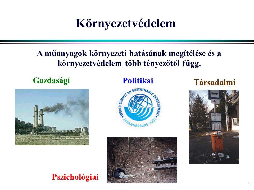 3 Környezetvédelem A műanyagok környezeti hatásának megítélése és a környezetvédelem több tényezőtől függ.