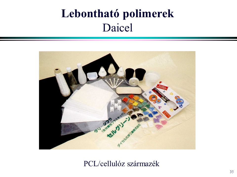 35 Lebontható polimerek Daicel PCL/cellulóz származék