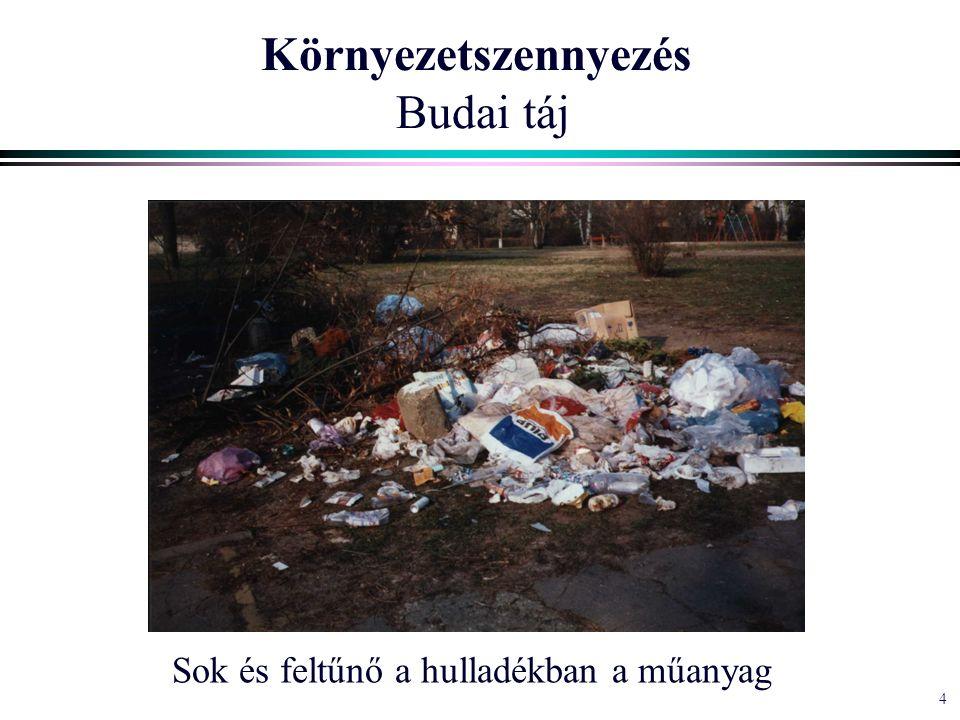 4 Környezetszennyezés Budai táj Sok és feltűnő a hulladékban a műanyag
