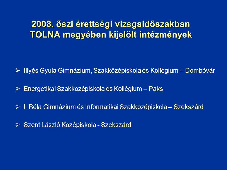 2008. őszi érettségi vizsgaidőszakban TOLNA megyében kijelölt intézmények  Illyés Gyula Gimnázium, Szakközépiskola és Kollégium – Dombóvár  Energeti