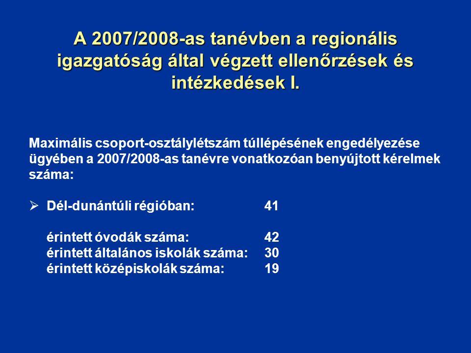 A 2007/2008-as tanévben a regionális igazgatóság által végzett ellenőrzések és intézkedések I. Maximális csoport-osztálylétszám túllépésének engedélye