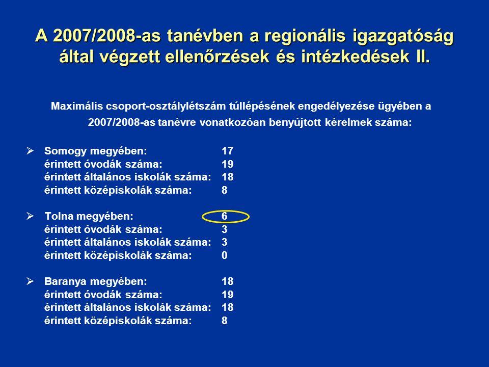 A 2007/2008-as tanévben a regionális igazgatóság által végzett ellenőrzések és intézkedések II. Maximális csoport-osztálylétszám túllépésének engedély