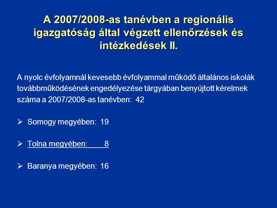 A 2007/2008-as tanévben a regionális igazgatóság által végzett ellenőrzések és intézkedések II. A nyolc évfolyamnál kevesebb évfolyammal működő általá