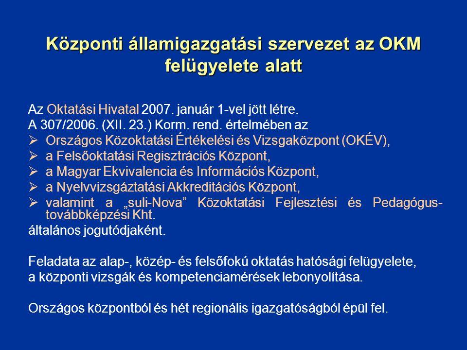 Központi államigazgatási szervezet az OKM felügyelete alatt Az Oktatási Hivatal 2007. január 1-vel jött létre. A 307/2006. (XII. 23.) Korm. rend. érte