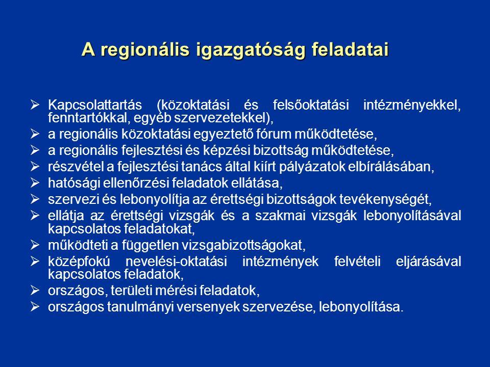 A regionális igazgatóság feladatai  Kapcsolattartás (közoktatási és felsőoktatási intézményekkel, fenntartókkal, egyéb szervezetekkel),  a regionáli