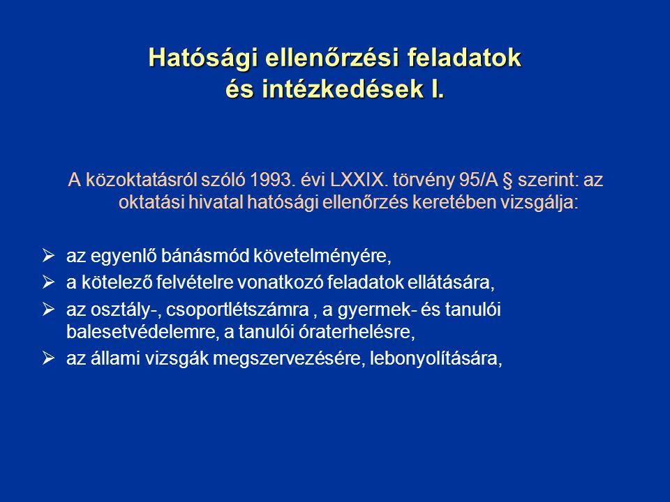 Hatósági ellenőrzési feladatok és intézkedések I. A közoktatásról szóló 1993. évi LXXIX. törvény 95/A § szerint: az oktatási hivatal hatósági ellenőrz